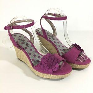 Montego Bay Wedge Flower Sandal Purple Floral